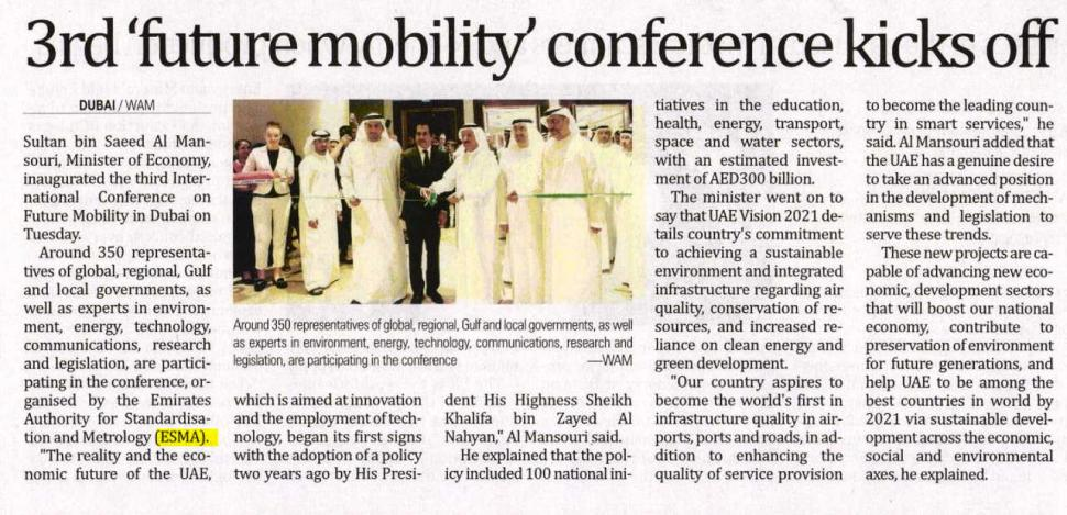 The Gulf Time - Emirates Business (UAE) 6th Nov.